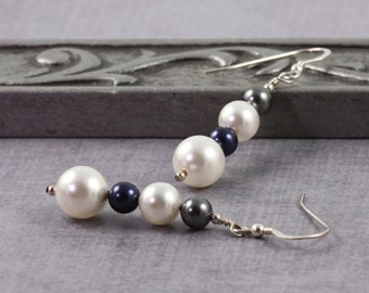 Mother of the Bride Earrings Blue and Gray White Pearl Jewelry Sterling Silver Earrings Wedding Jewelry, June birthstone