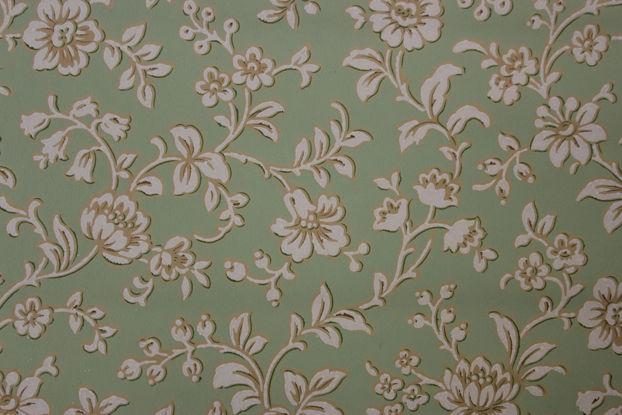 1920 39 s antique vintage wallpaper white flowers by