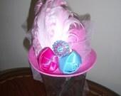 Min Top Hat, Fascinator, Handmade, Birthday Party Hat, Easter Hat, Alice in Wonderland Tea Party, Photo Prop, Costumes Wedding Headpiece,