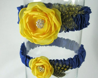 Yellow and Blue Feather wedding Garter F291- something blue bridal garter accessory
