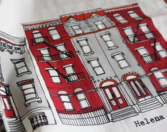 New York Brooklyn Townhouses Screen Printed Tea Towel