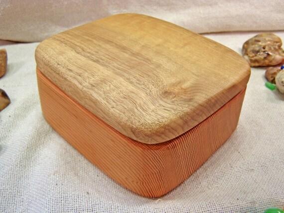 SALE -Oregon-Myrtle & Doug Fir Wood Box, wood jewelry box, wedding anniversary gift, watch box, wedding gift, ring bearer box, eco gift box