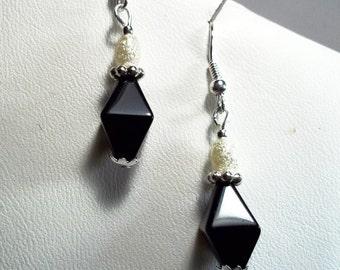 Black Onyx White Pearl Sterling Silver Dangle Earrings
