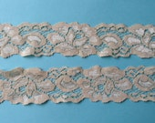 Dark IVORY LARGE FLORAL Stretch Lace-1 1/2 inch -5 yards