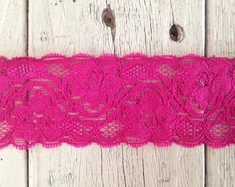 Wide Stretch Lace BERRY -2  inch -5 yards for 7.50