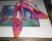 Sale! EVAN PICONE Pink Orange Red Classic Pumps Heels Leather Shoes Womens Retro Collectors 8.5 M