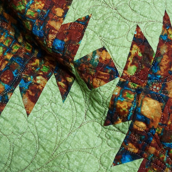 Quilt Autumn Colors Gold Brown Teal Green Blue By Autumnelan
