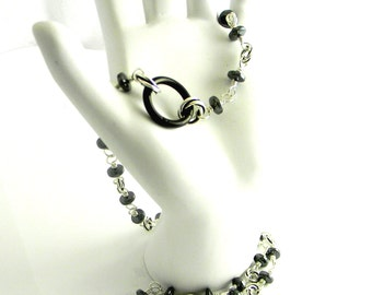 Made To Order Handmade Hematite & Sterling Silver Chain Slave Collar with Black Anodized Titanium Captive Segment Ring Clasp