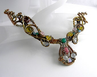 Piraté Treasure  Copper, Bronze, and Sterling Gemstone Laden Sculptured Wire Statement Necklace