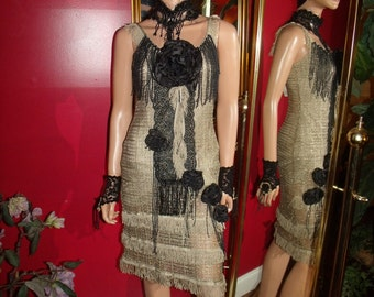 Reproduction  20s Theme   Flapper Dress  Tan Gold   Metallic Lace  Fringes