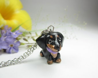 Dachshund necklace, Dachshund gift, Dachshund jewelry, dog necklace jewelry black, dog lover gift, dog gift, miniature animal polymer clay