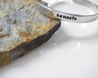 namaste - Mantra Cuff Bracelet, Hand Stamped, Ready to Ship…...Aluminum......