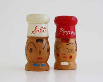 Vintage Wooden Chef Face Salt and Pepper Shaker Set