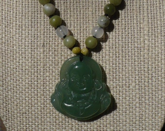 Green Aventurine knotted necklace with green jade Buddha pendant Boho HippieChic Peace Love Karma Zen