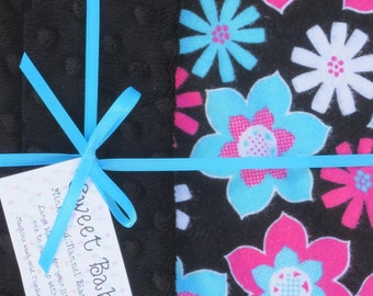 Large Bright Floral and Minky Dot Baby Blanket - 34 X 40
