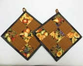 Autumn Theme Quilted Potholder Hot Pad Trivet Set of 2