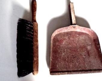 Vintage General Store Industrial Dust Pan Horse Hair Brush