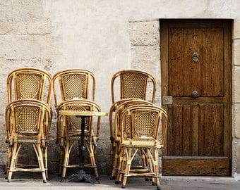 "Paris Photography, ""Brown Stacked Chairs"" Paris Print, Large Art Print Fine Art Photography"