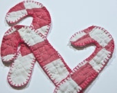 Candy Cane Vintage handmade quilted Christmas ornament abstract folk pink rose white fabrics ornament decoration textile