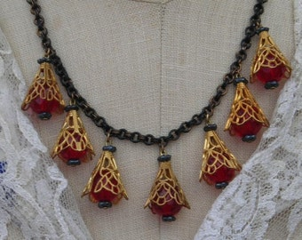 Vintage Bib Necklace Set, Red Black Necklace, Vintage Assemblage Jewelry, Elegant Estate Style Jewelry