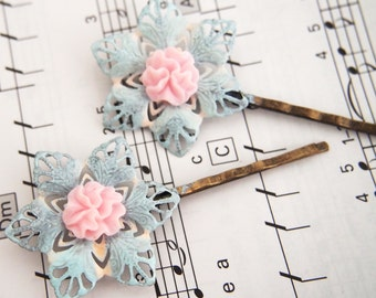 Pastel Pretties Pinwheel Bobby Pins -  Wedding Formal Hair Slides Regency EGL Baby Blue Pink