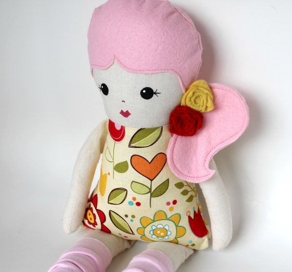 Handmade Pink Hair Cloth Rag Doll Side Pony With A By