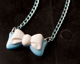 50% OFF SALE Light Blue and White Bow Necklace with Japanese Acrylic Cabochon and Matching Anodized Aluminum Chain Cute Scene Loli Jewelry