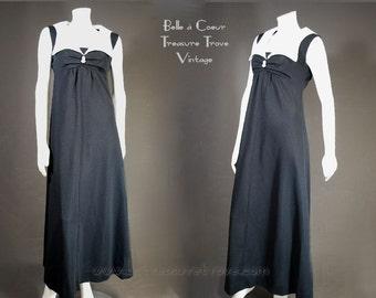 1960s Maxi Dress Black & White Vintage Sleeveless Jerri Lurie Medium