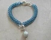 Aqua blue-  Pet collar necklace with Aquamarine  amulet