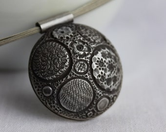XL Big Ball Texture Necklace made of Sterling silver  and  Black patina, Matte finish,  Metalsmith, round pendant