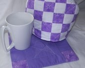 Small  Quilted Tea Cozy and  Coaster Set in Purple