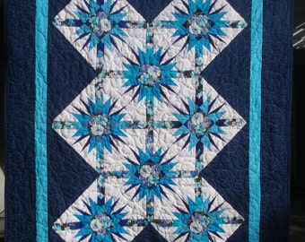 Quilt Blue Starry Night Handmade Country