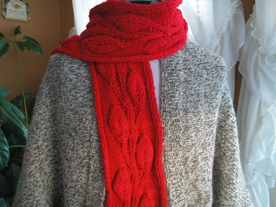 Vine Leaf Knitting Pattern : Womans Knit Red Scarf With Vine and Leaf Pattern by ...