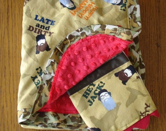 On Clearance - Duck Dynasty Minky Blanket and Burp Cloth Set... Can Be Personalized