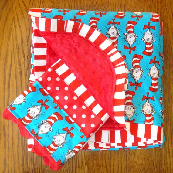 Cat In The Hat Dr. Seuss Minky Blanket and Burp Cloth Set...READY TO SHIP