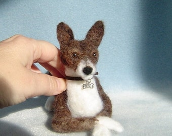 Custom Pet needle felted Dog animal Basenji soft sculpture portrait