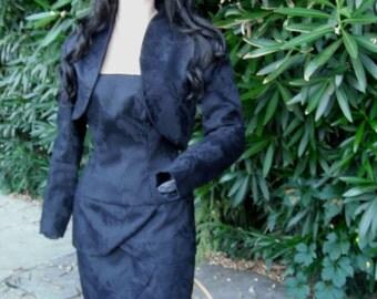 Vintage A. J. Bari Strapless Black Dress w/Matching Bolero  Neiman Marcus