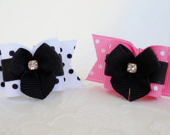 "Dog Bow-  7/8"" Swiss Dot Dress Up Pressie Dog Bow- Many Colors"