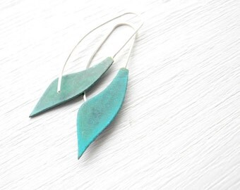 Verdigris Long leaf Earrings - handmade solid brass and silver dangle petal, curve, geometric, made in Italy