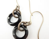 SALE Jet Black Cosmic Ring Earrings on Brass