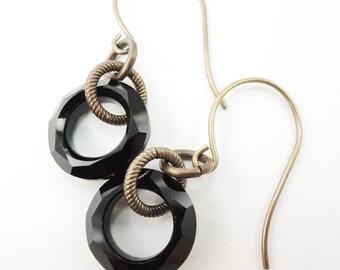 Jet Black Cosmic Ring Earrings on Brass