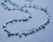 Apatite chip crocheted gemstone necklace