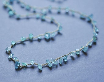 Apatite chip crocheted gemstone necklace