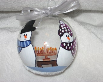 Two Snow People - Happy Hanukkah -  Personalized and Hand Painted