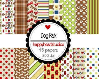 Digital Scrapbooking DogPark-INSTANT DOWNLOAD