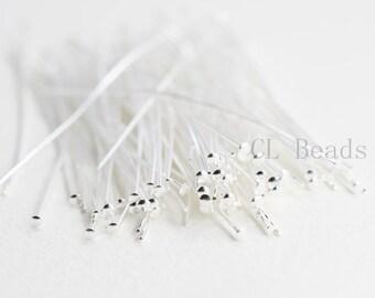 100pcs Silver Plated Brass Base Umbrella Head Pins-50mm (2 Inch)-22 Gauge (354C-I-198)