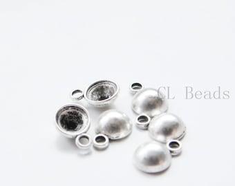 30pcs Oxidized Silver Tone Base Metal Rhinestone Bases-12x9mm (19644Y-P-306)