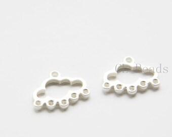 2 Pieces Premium Matte Silver Plated Base Metal Charm- Cloud- 18x16mm (488C-S-264)
