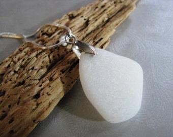 Milk Glass Sea Glass Pendant - Beach Glass Pendant - Opaque White - Very Rare Pendant