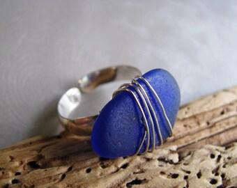 Sea Glass Ring - Cobalt Blue - Beach Glass Ring - Beach Glass - Beach Glass Jewelry